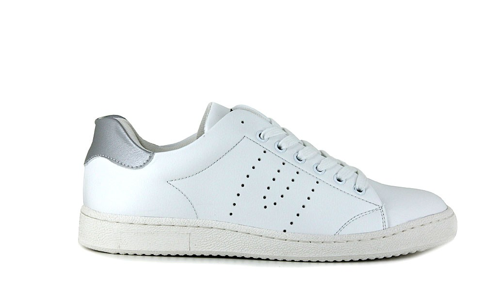 Veganer Sneaker | VEGETARIAN SHOES Kemp Sneaker WhiteSilver