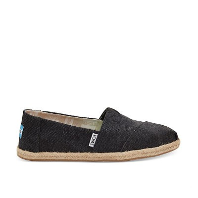 Vegane Espadrilles | TOMS Alpargata Rope Black Washed Canvas