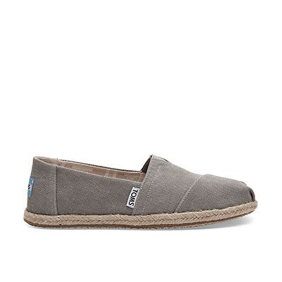 Vegane Espadrilles | TOMS Alpargata Rope Grey Washed Canvas