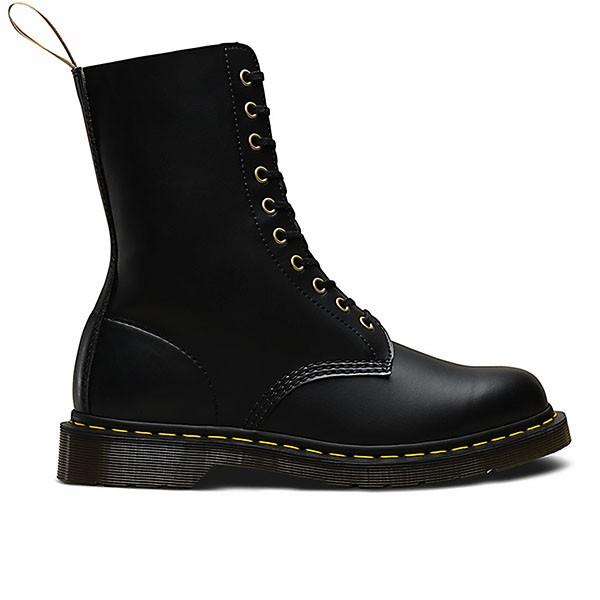 Veganer Stiefel | DR. MARTENS 1490 10-Eye Boot Black Felix Rub Off